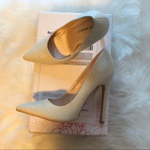 White Heels- feels like snake skin